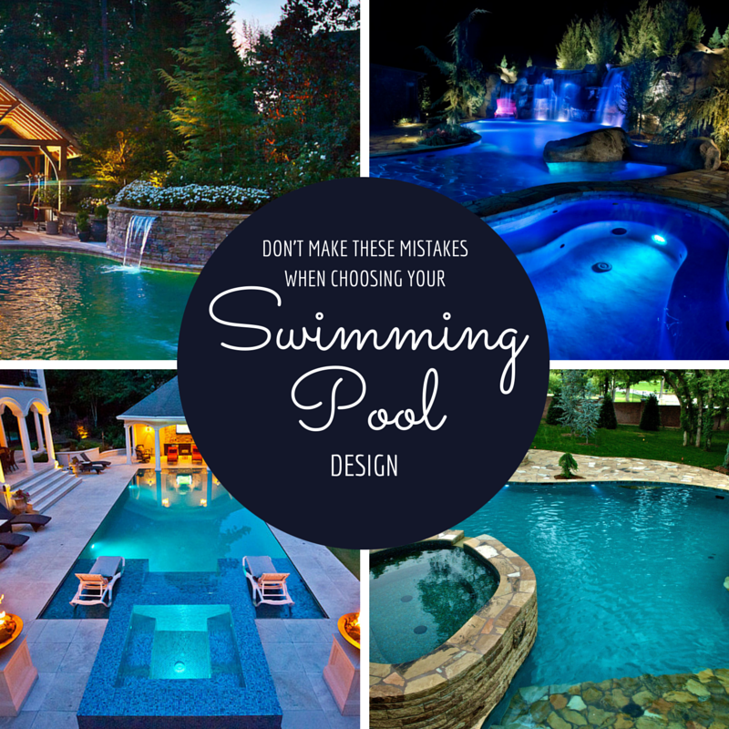 four pictures of backyards with pools