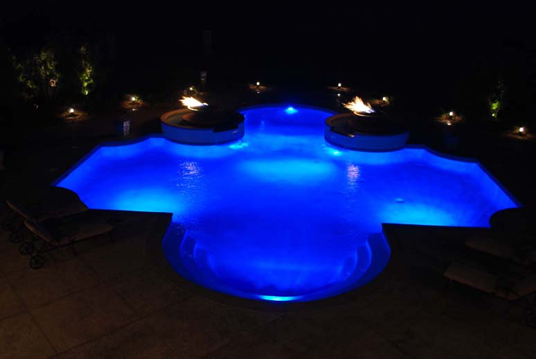OKC pool Lighting done by Blue Haven Pools